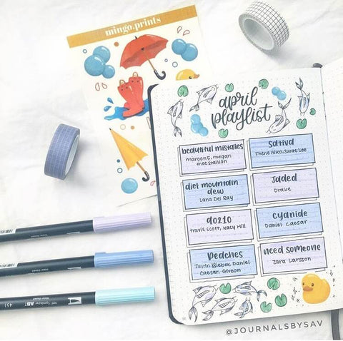 A playlist spread design in dot grid journal with fish doodles