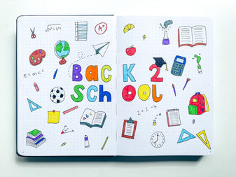 A double page spread of colourful school-themed doodles with Back 2 School written in block letters