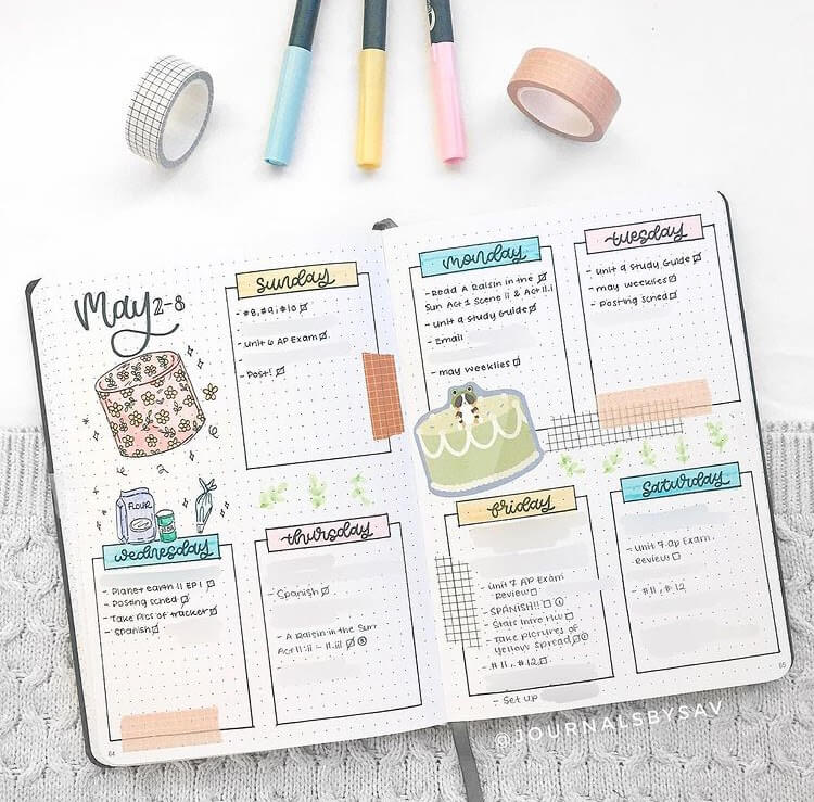 Yop & Tom Creator of the Month March 2021 cover page showing open notebook with weekly spread