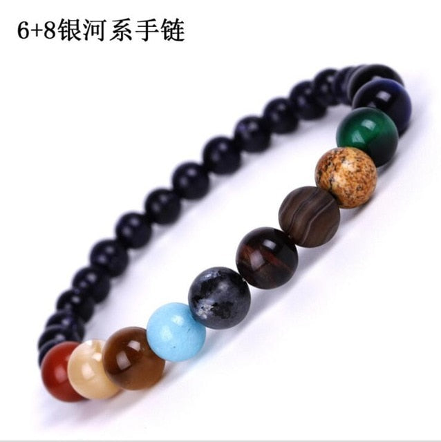 Galaxy Solar System Bracelet Universe Nine Planets Natural Stone