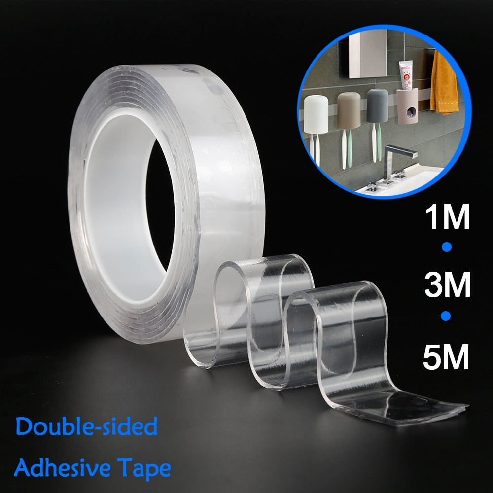 1/2/5m Reusable  / Washable Double-Sided Adhesive Nano Traceless Tape