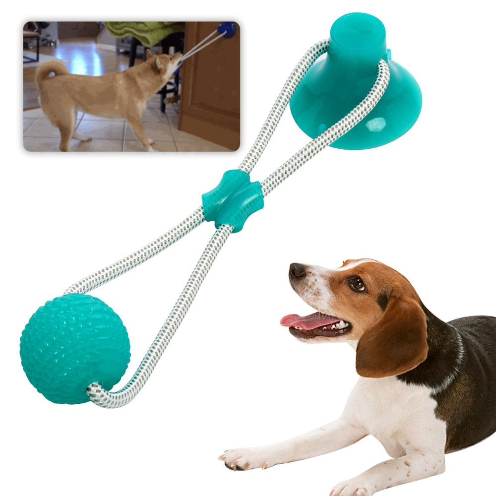Multifunction Pet Molar Bite Dog Toys Rubber Chew Ball Suction Cup Dog Biting Toy
