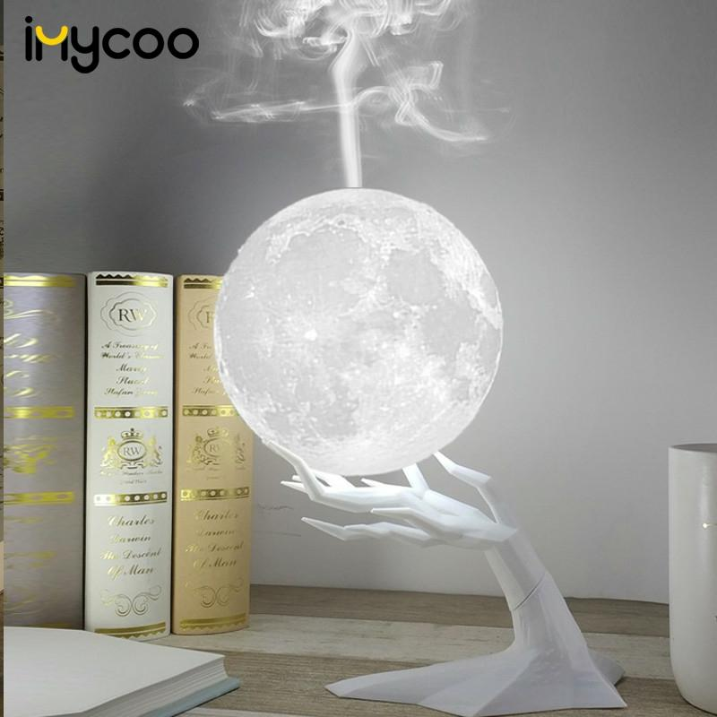 Ultrasonic Moon Air Humidifier Aroma Essential Oil Diffuser with LED Night Lamp USB Mist Maker Humidificador  Drop Ship