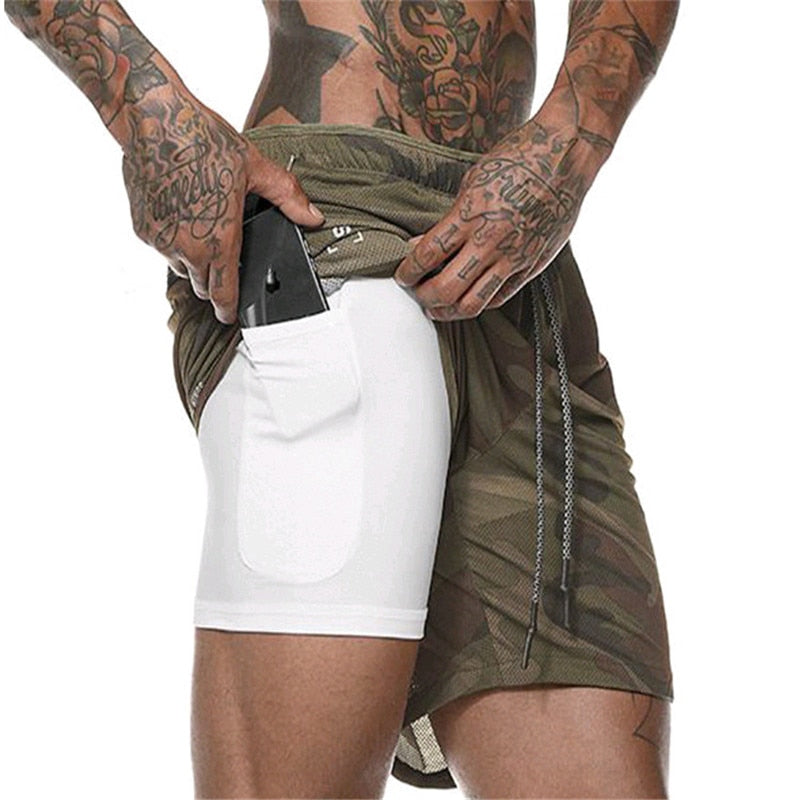 Quick Drying Running Shorts Men 2 in 1 Security Pocket