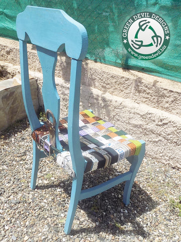 Chair made with repurposed belts