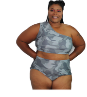 TS-01 Curvy Camo One Shoulder Bikini Set with Skirt