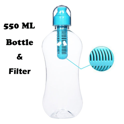 20 oz  Water Bottle with Built-In Activated Charcoal Carbon Filter