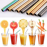 5 Piece Eco-Friendly Reusable Stainless Steel Straw Set With Brush & Bag