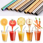 5 Piece Eco-Friendly Reusable Stainless Steel Straw Set With Brush & Bag - 50% Off