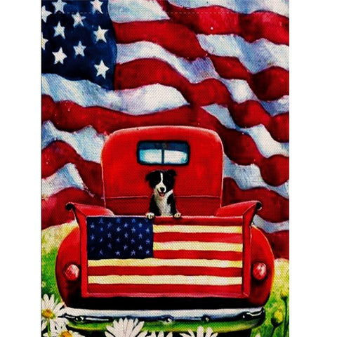 "Decorative ""Puppy In Truck"" Garden Flag"