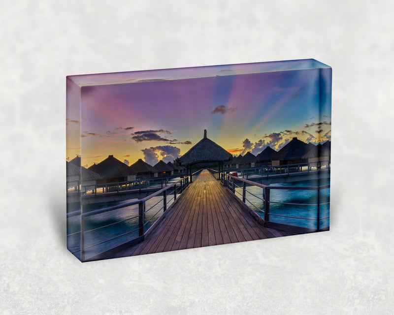 Bora Bora Boardwalk Dawn Acrylic Block