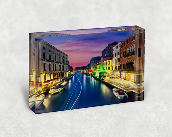 Venice at Night Acrylic Block