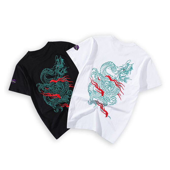 Unisex Hand Embroidery Green Dragon Tee