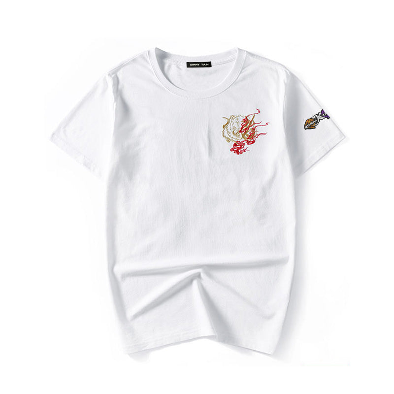 Unisex Hand Embroidery Tee - Dragon In FIRE