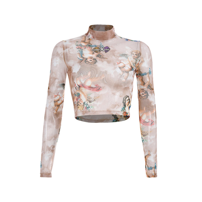 Printed Angel Mesh Tops