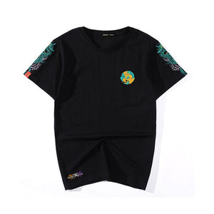 Unisex Shoulder Dragon Embroidery T-shirt