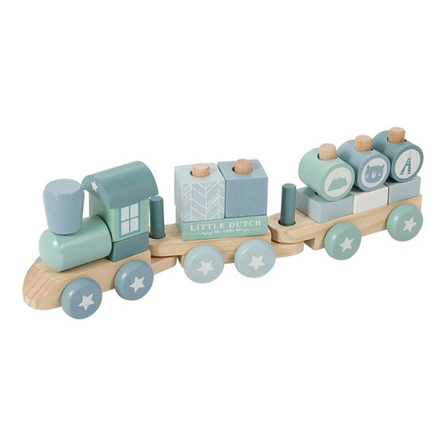 Little Dutch Holz Eisenbahn Zug Bausteine adventure blue 4417