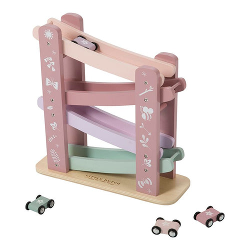 Little Dutch Holz Rennbahn inkl. 4 Autos adventure pink 4374