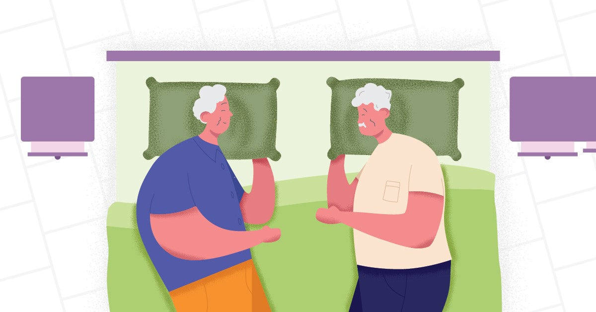 Illustration of two older people having troughble with sleep