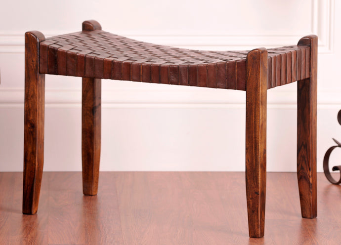 Saddle Seat Woven Leather Bench 28