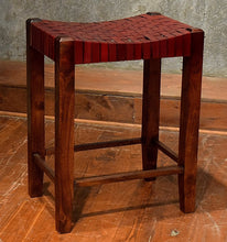 Load image into Gallery viewer, Saddle Seat Woven Leather Counter Stool 26""
