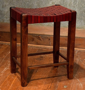Saddle Seat Woven Leather Counter Stool 26""