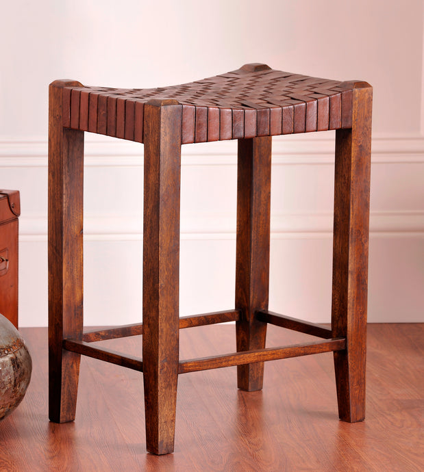 Saddle Seat Woven Leather Counter Stool 26