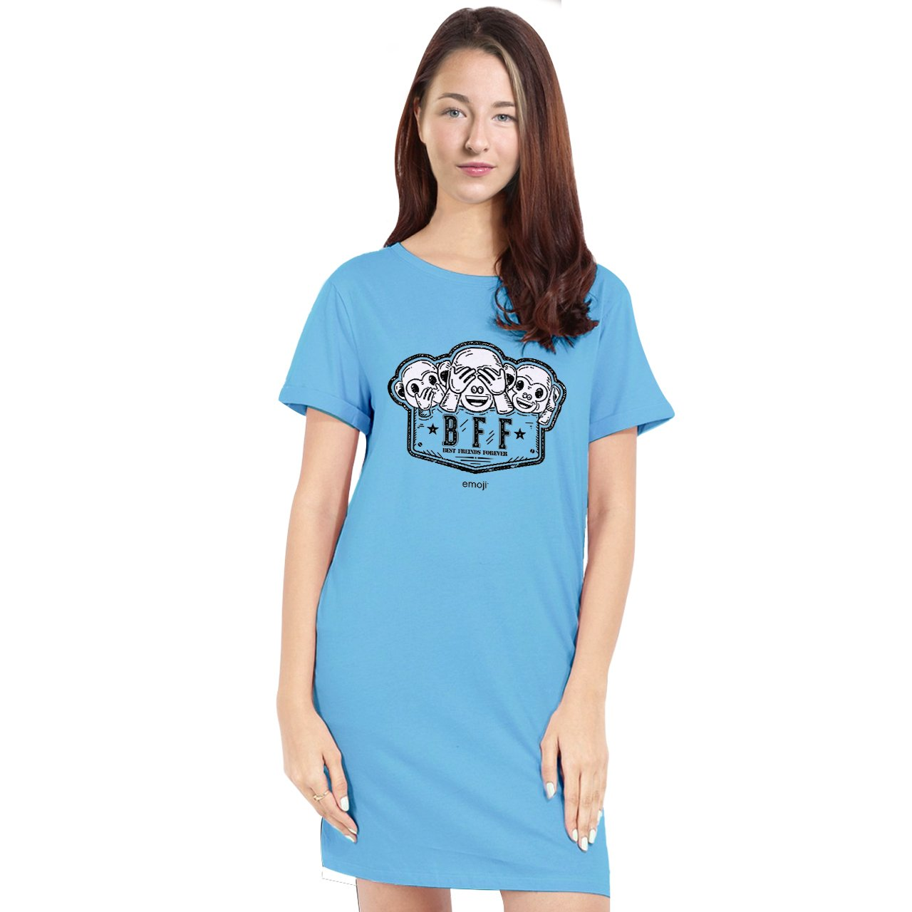 Official Licensed emoji Printed T-Shirt Dress for Women - BFF