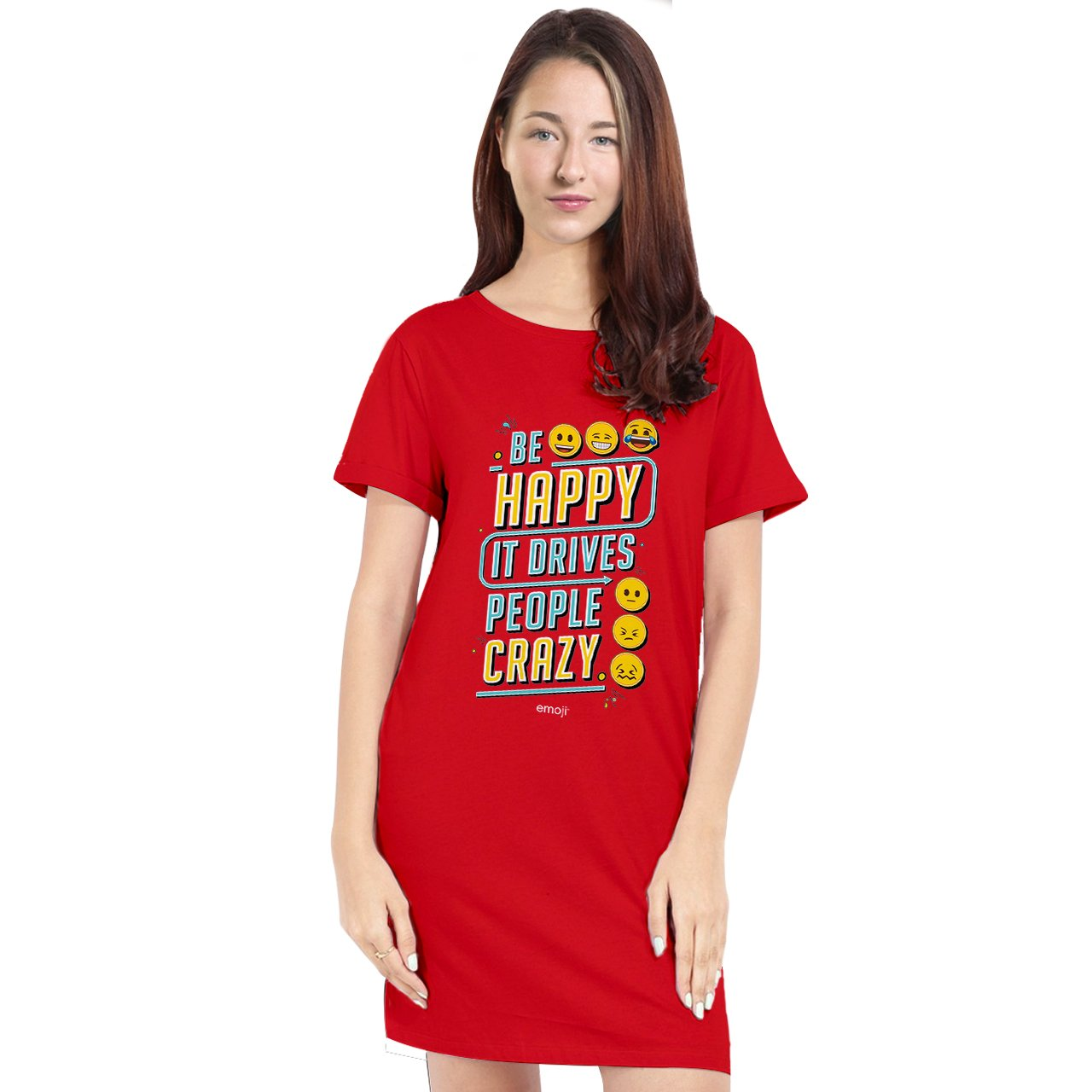 Official Licensed Emoji Printed T-Shirt Dress for Women - Be Happy It Drives People Crazy