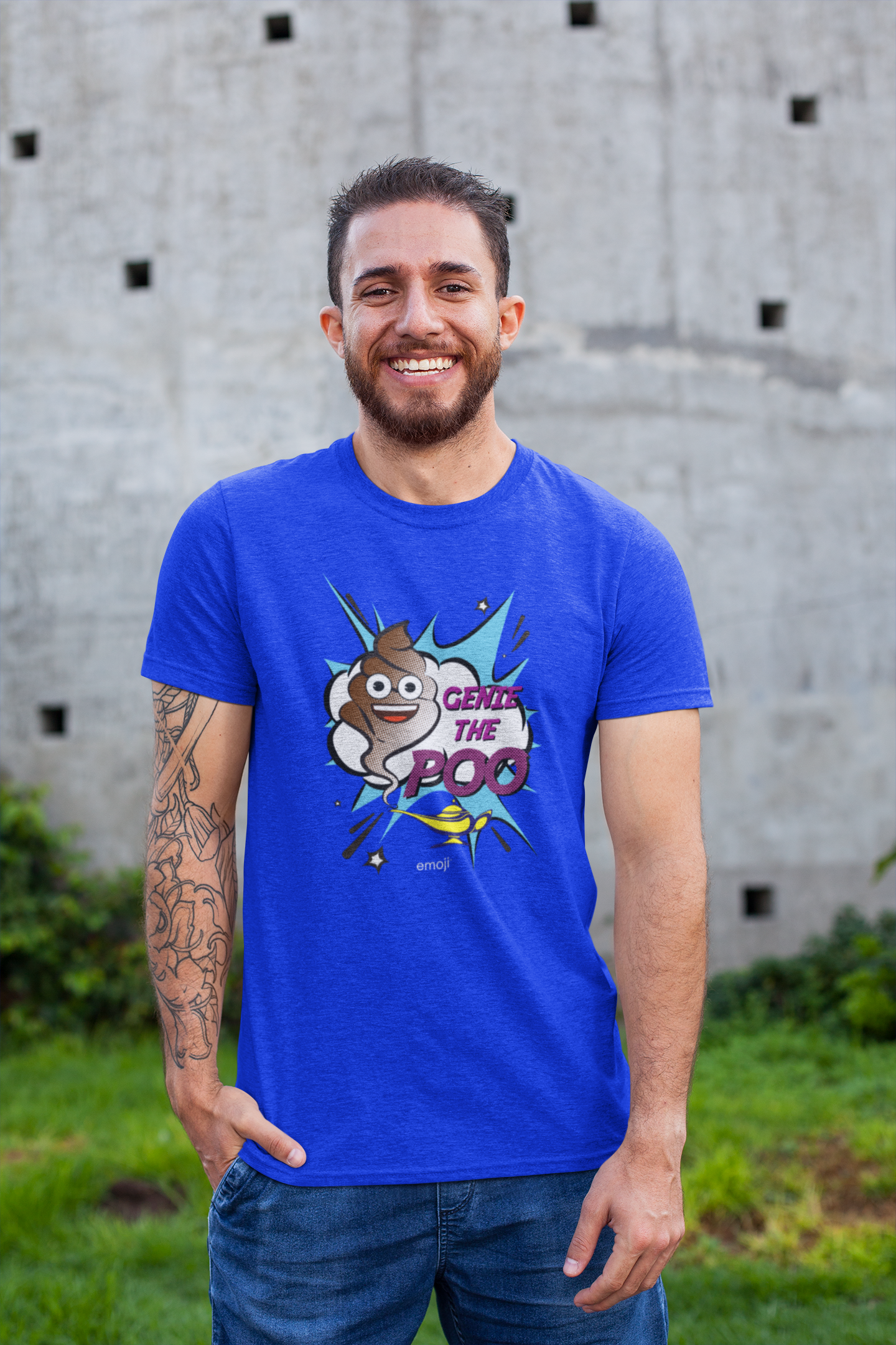 Official Licensed Emoji Printed T-Shirt for Men - Genie The Poo