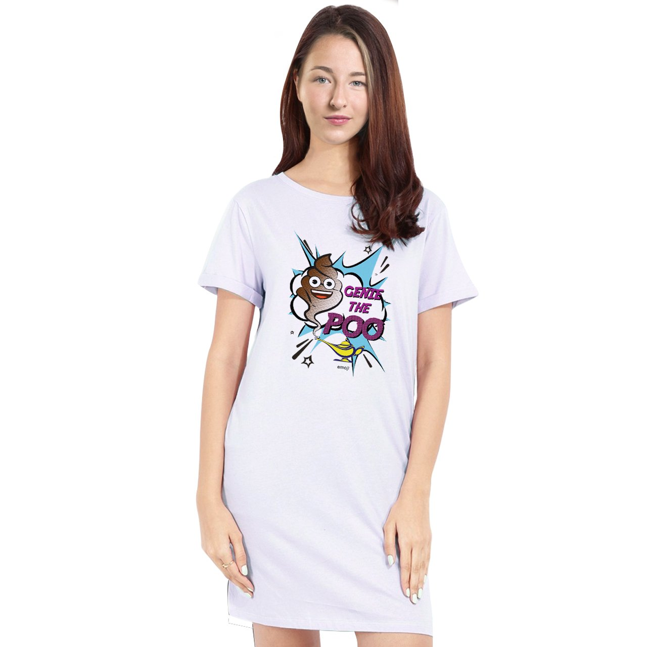 Official Licensed Emoji Printed T-Shirt Dress for Women - Genie The Poo