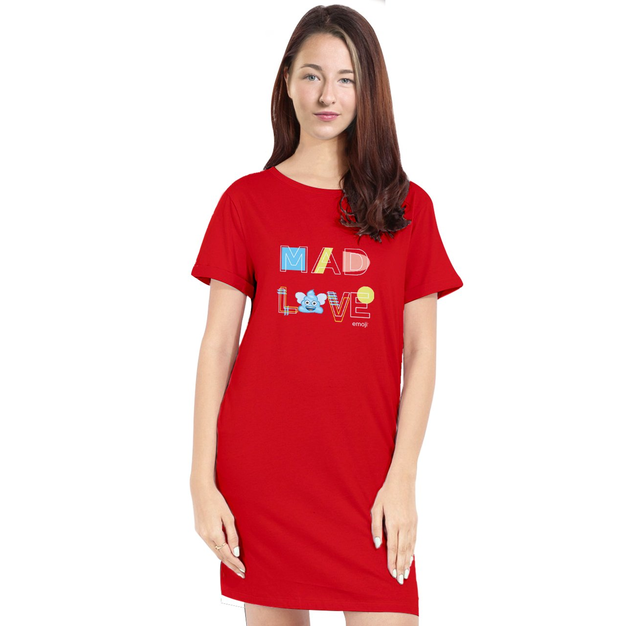 Official Licensed emoji Printed T-Shirt Dress for Women - Mad Love