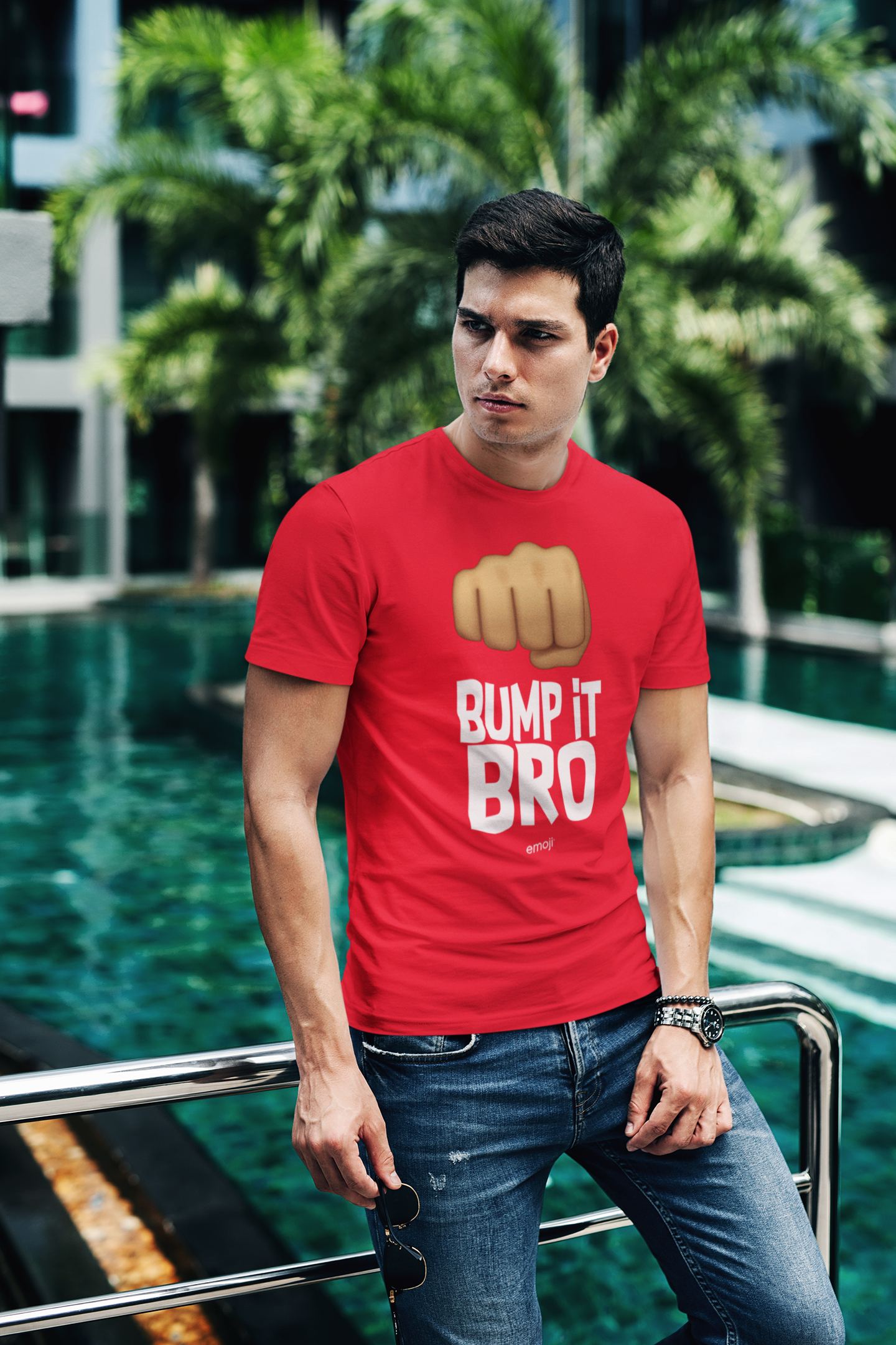 Official Licensed emoji Printed T-Shirt for Men - Bump It Bro