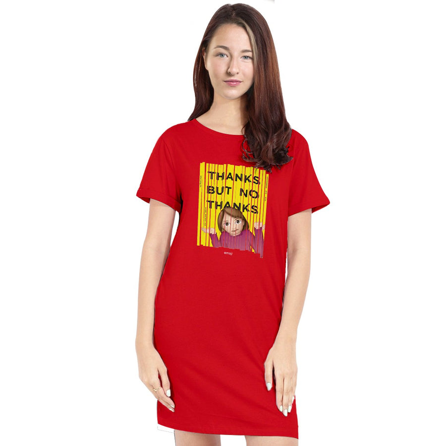 Official Licensed Emoji Printed T-Shirt Dress for Women - Thanks But No Thanks