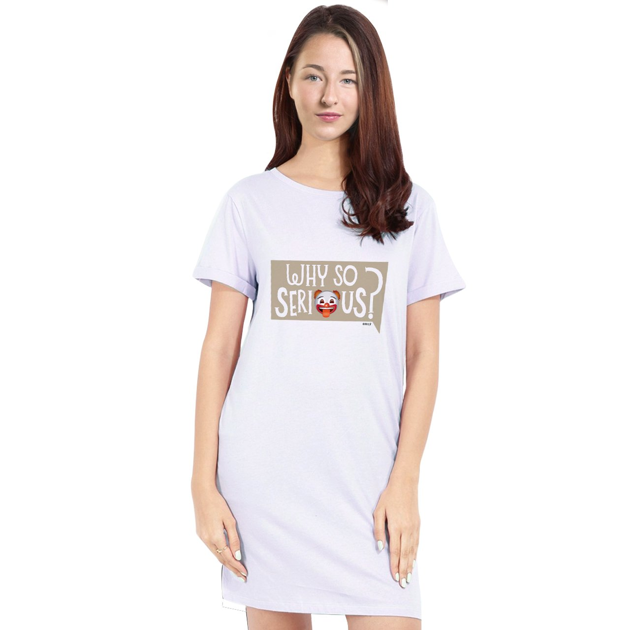 Official Licensed emoji Printed T-Shirt Dress for Women - Why So Serious?