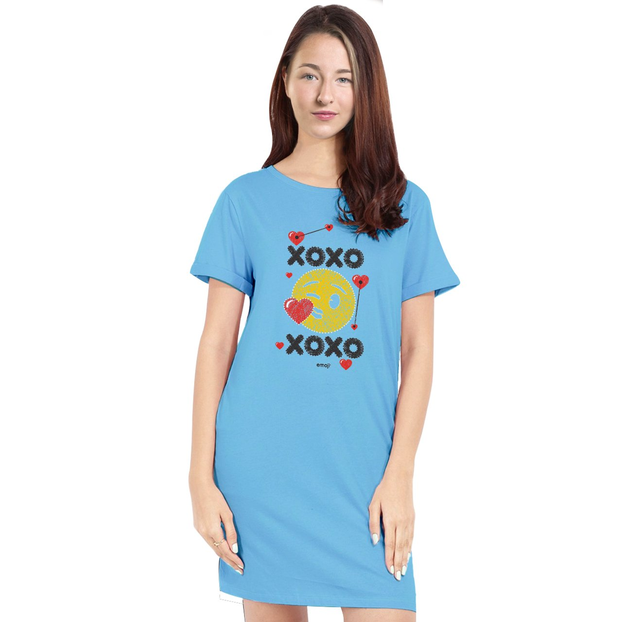 Official Licensed emoji Printed T-Shirt Dress for Women - XOXO