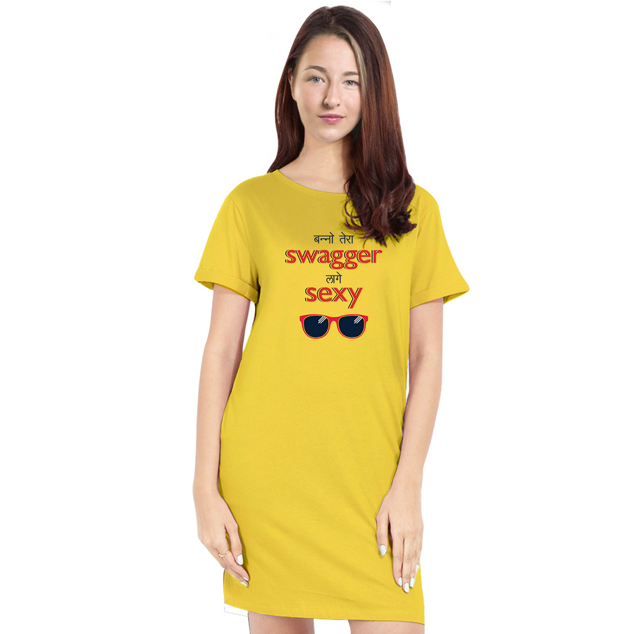 Bollywood T-Shirt Dresses for Women - Banno Tera Swagger Lage Sexy