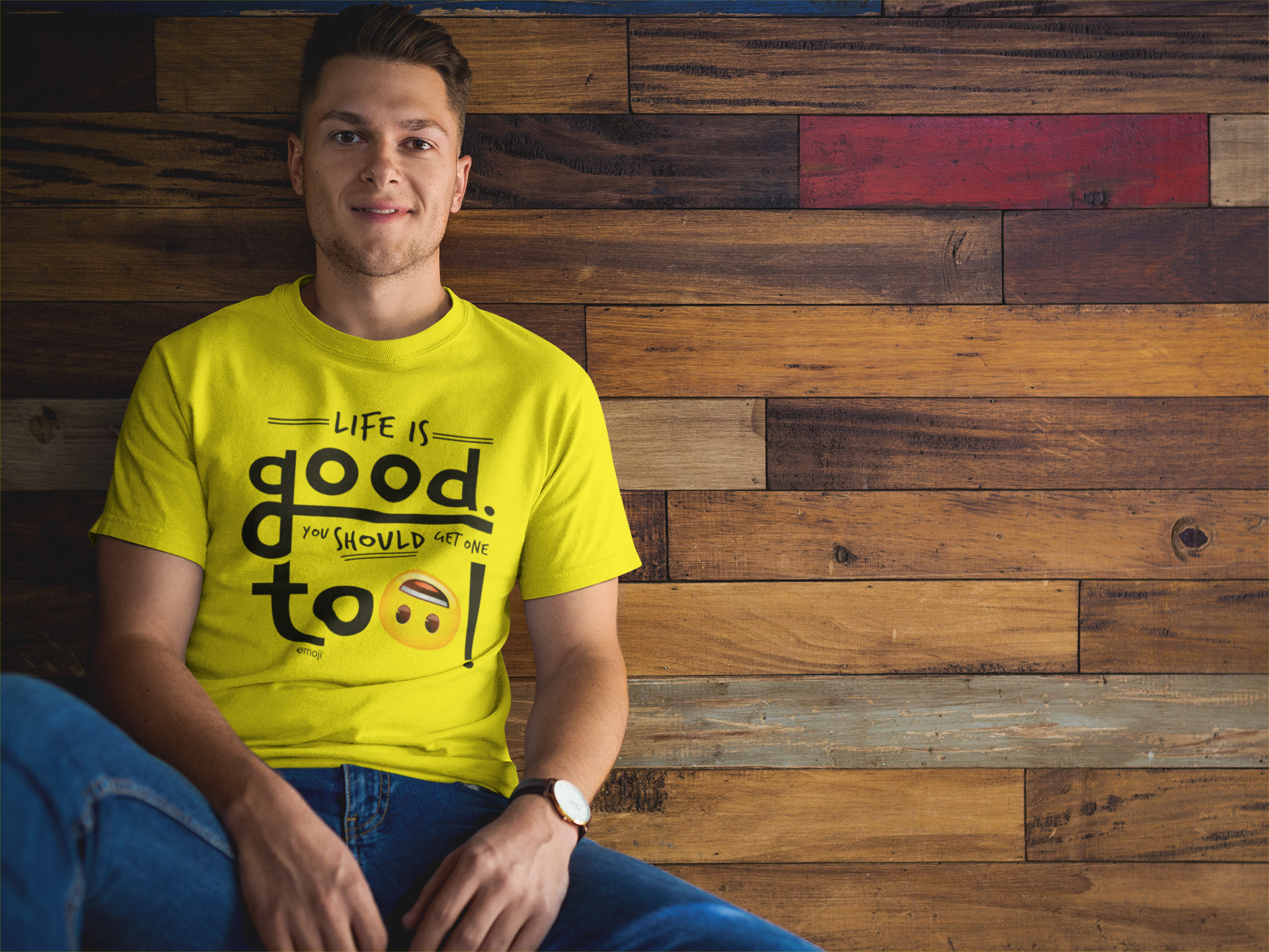 Official Licensed emoji Printed T-Shirt for Men - Life Is Good