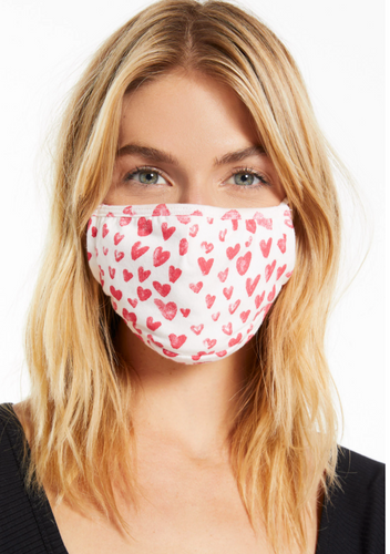 Hearts Print Adult Face Mask