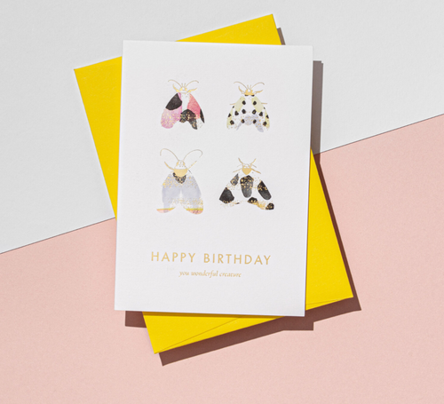 'Happy Birthday' Moth Card