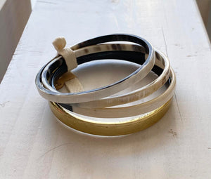 Buffalo Horn 4 Bangle gold accent