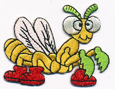 wasp with red shoes thread applique