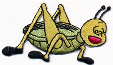 grass hopper in black shoes thread applique