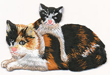calico kitten cat thread applique