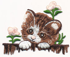 kitten with flowers thread applique