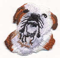 bull dog head thread applique