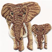 brown elephant baby thread applique
