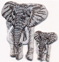 gray elephant baby thread applique