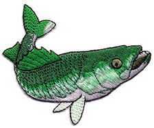 green fish thread applique