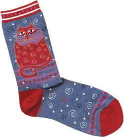 crimson cat with denim background laurel burch sole mates socks